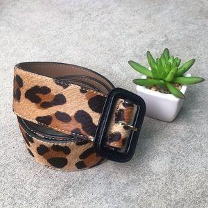 Talbots Cheetah Print Belt Leather Buckle M